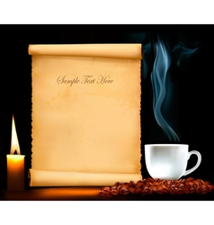 background with old paper and cup of coffee vector image