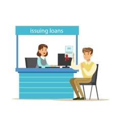 Bank client getting a loan bank service account vector