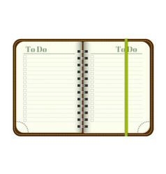 Book with blank to do list empty space for your vector
