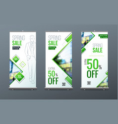 business roll up banner stand presentation vector image