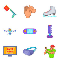 computer game icons set cartoon style vector image vector image
