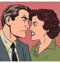 Conflict man woman family quarrel love hate pop vector