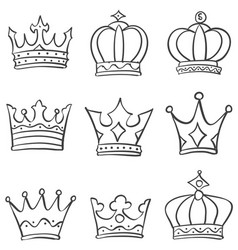 Crown king and queen style doodle vector