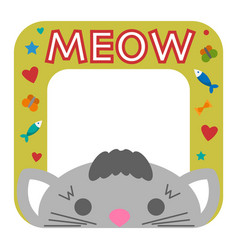 Cute happy birthday border cat photo frame vector