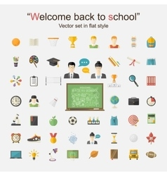 Education icon big set vector image