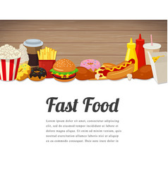 fast food card design food background with vector image