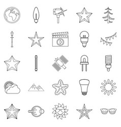 flash icons set outline style vector image