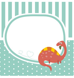 Greeting card with cartoon dinosaur greeting card vector