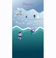 happy parents and children play outside in winter vector image vector image