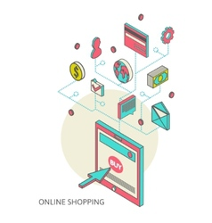 Icons for mobile marketing and online shopping vector image