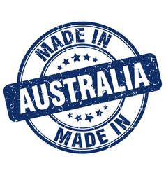 Made in australia blue grunge round stamp vector