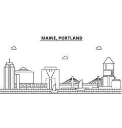 Maine portland architecture line skyline vector
