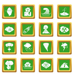 Natural disaster icons set green vector