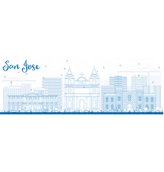 Outline san jose skyline with blue buildings vector