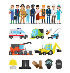 profession representatives and equipments set vector image vector image