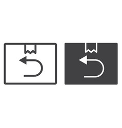 Return shipping line and glyph icon logistic vector