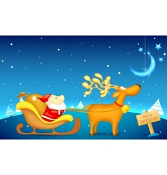Santa Claus riding in sledge on Christmas vector image