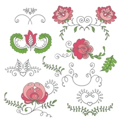 Seamless hand-drawn floral pattern vector