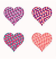 set of colorful hearts vector image vector image