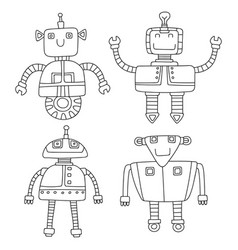 set of different cute robots vector image