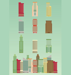 skyscraper offices flat business buildings set vector image