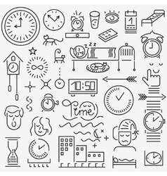 Sleeping time icons set vector