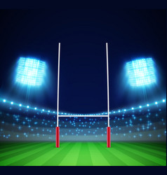 Stadium with lights and rugby goal eps 10 vector