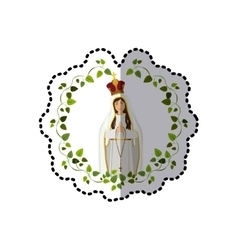 Sticker arch of leaves with saint virgin coronated vector
