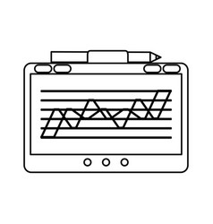 Tablet with graph on screen icon image vector
