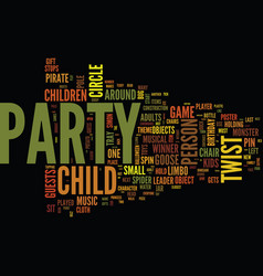 Ten classis kids party games with a twist text vector