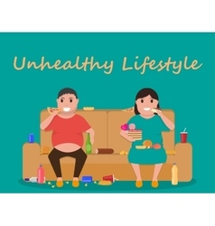 unhealthy lifestyle human laziness obese vector image