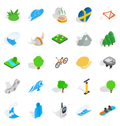 Unity with nature icons set isometric style vector