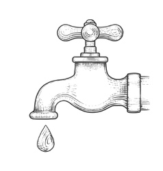 Water tap with drop engraving style vector image vector image