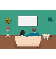 Young family man and women watching TV program vector image