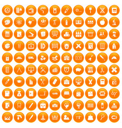 100 pensil icons set orange vector