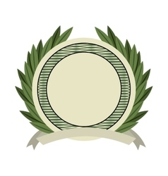 Emblem wreath bills icon vector