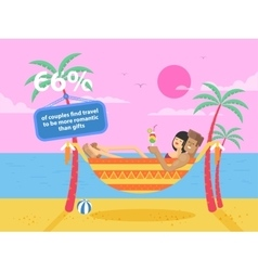 Happy tanned couple on vacation vector
