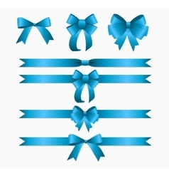 Blue ribbon and bow set for birthday and christmas vector