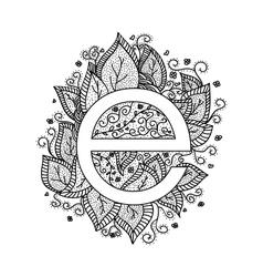 Floral letter e design elements vector