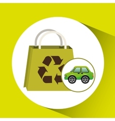 Eco car bag shop icon environment vector