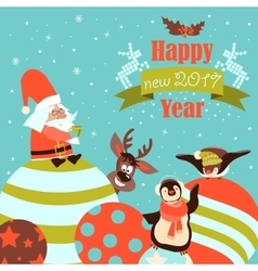 Funny penguins with Santa Claus celebrating vector image