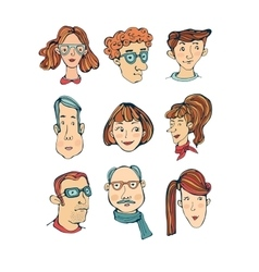 Hand drawn faces collection vector image