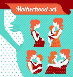Motherhood set silhouettes of mother and baby vector
