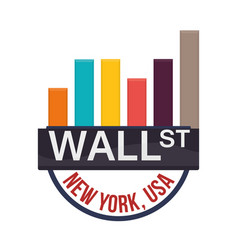 Wall street new york chart graphs financial vector