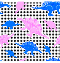 the memphis pattern of dinosaurs 80s 90s vector image