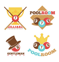Billiard pool club poolroom labels vector