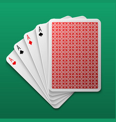 four aces poker playing card on game table casino vector image