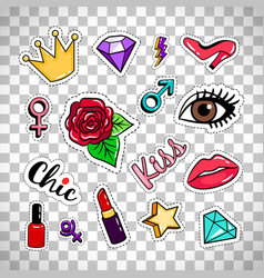 Fashion stickers on transparent background vector