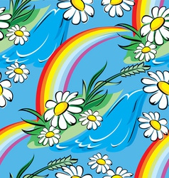 Spring rainbow seamless vector