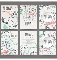 Set of six designs of hand-drawn arrow vector